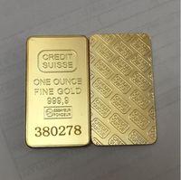10 stücke Nichtmagnetische Kredit-Suisse BEGOT 1OZ GOLD GOLD Bullion Bar Swiss Souvenir Münze Geschenk 50 x 28 mm mit verschiedenen seriellen LasernummernFH