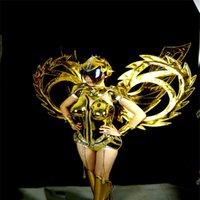 Parti Dekorasyon ES001 Balo Salonu Dans Kostümleri Podyum Sahne Kanatları Giyer Altın Ayna Bodysuit Performans Bayan Elbise Bezi DJ Kıyafet DS