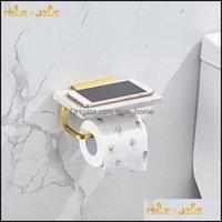 Ванная комната Оборудование для ванны Главная Гарденс Роскошный Золотой Мрамор Туалет Держатель Алюминиевый Мобильный телефон Держатели Drop Доставка 2021 CBUPO