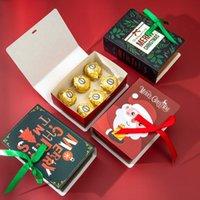 Gift Wrap 4Pcs Book Shape Merry Christmas Candy Boxes Bags Santa Claus Child Box Navidad Natal Noel Party Supplies