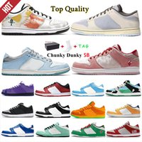 SB Shadow Dunky Chunky Hommes Casual Chaussures Dunk Travis Scotts VioTech Plum Panda Panda Pigeon Lx Toile Blanc Gris Femmes Femmes Sneakers Taille 36-46 avec demi