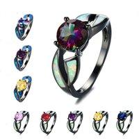 Boho femmina arcobaleno rotondo anello zircone vintage 14kt nero oro anelli di nozze di lusso in pietra opale di lusso impegno per le donne