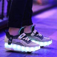 크기 28-40 어린이를위한 롤러 스케이트 신발 더블 바퀴에 빛나는 LED 운동화 어린이 소년 소녀 신발 조명 USB 충전