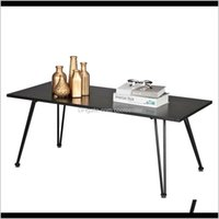 Living Room Furniture Home & Garden Drop Delivery 2021 Single Layer Simple Coffee Table 1Dot5Cm Thick Desktop Square Pointed Iron Frame Black