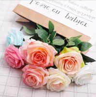 Simulation Single Rose Flower Girl Friend Gift Silk Fabric Valentine Day Roses Wedding Bride Holding Flowers Bouquets Decor HWA4674
