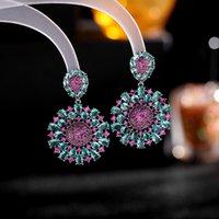 Colorful Zircon Dangle Earrings Women Wedding Party Dress Jewelry Fashion Korean Crystal Flower Drop Earring Vintage Accessories