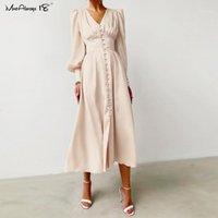 Mnealways18 manches bouffantes printemps satin robe longue robe femmes v-cou de jardin robes plissées champagne élégant robe maillonnée dames ruchied1