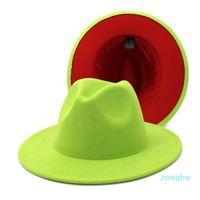 Neue klassische Zwei getönte Filz Fedoras Hut Für Männer Frauen Künstliche Wollmischung Jazz Cap Wide Riblische Kirche Derby Flat Hat