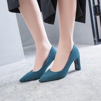 Dress Shoes Pumps Flock Sweet Thick High Heels Female Sexy Office Pointed Toe Work Pump Ladies Footwear Zapatillas Mujer
