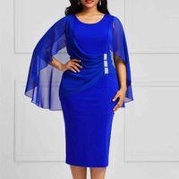 Plus Size Mesh Summer Dress Mother Bride Blue Chiffon Dress 2021 New Elegant Wedding Evening Party Dresses Shawl Birthday Outfit A0611