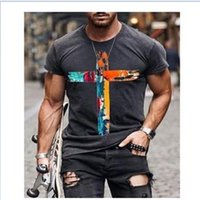 2021 Erkek Baskı T Shirt Geometrik Baskı Gençlik Kısa Kollu Yaz Sokak Tarzı T-Shirt Yüksek Kalite Tees Artı Boyutu 5 Renkler Tops