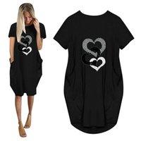 Female T-shirt Sexy Long Heart Heart Love Print Top Ladies Top Casual T Shirt Women Camiseta Mujer Pocket Tees Dress Vestidos