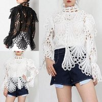 2021 BOHO Inspired spring Vintage white Black Blouses women long sleeve hollow out Girl blouses shirts chic ruffle blouse