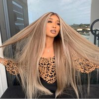 Highlight Platinum Blonde Long Straight 180 Density Human Hair Wigs 13x6 Lace Front Wig PrePlucked With BabyHair Brazilian Remy Grey Full lacewigs bleached
