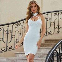 Llegada Summe Autumn Vendaje Vestido Mujeres Sexy Bodycon Party Club Elegant Celebrity Ladies Ropa Blanco Vestidos 210515