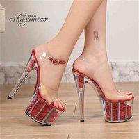 Shuzumiao Düğün Gelin 17 Yüksek Topuklu 7 cm Platfrom Kadın Platformu Sandalet Şeffaf Kristal Kadın Ayakkabı 210417