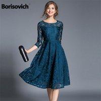 Borisovich New Spring Fashion England Style Luxury Elegant Slim Ladies Party Dress Women Casual Lace Dresses Vestidos M107 210331