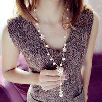 Collares colgantes mujeres suéter simulados perla 2 cm flor 78cm cadena longitud 7 cm declaración collar de regalo joyería de moda al por mayor
