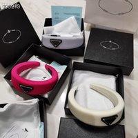 Designer mulheres luxo esponja headbands bandas de cabelo marca elástico letra p headband esportes fitness casamento cabeça envoltório com caixa de presente