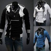 Side Cremallera Patchwork Hoodies Hombres Casual Assasins Creed Clothing Mens Hoodies and Sudaderas Sudadera Hombre DFF3012