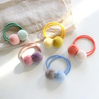 Hair Accessories 1 Pcs Fur Ball Elastic Air Ties Girls' Ponytail Holder Kids Rope Band Bows With Lovely Girl