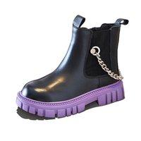Girls Boys Boots Kids Shoes Children Footwear Childrens Short Boot Autumn Winter Students Shoe Casual Chain B8684
