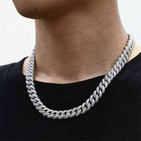 Necklaces 18 Inch 10mm 925 Sterling Silver Setting Iced Out Vvs Moissanite Diamond Hip Hop Cuban Link Chain Miami Necklace Jewelry for Mens Hysk