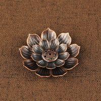 Räucherbrenner Reflux Stick Weihrauchhalter Home Buddhismus Dekoration Coil Censer mit Lotus Blume Form Bronze / Kupfer Zen Budd 502 V2