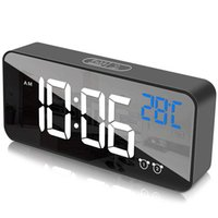 Otros relojes Accesorios Reloj de alarma digital para habitaciones LED de pantalla con cargador de puerto USB, 12/24 h, 2 alarmas de reloj, detección de temperatura, 0