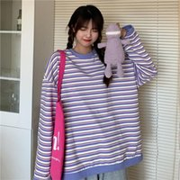 Women's Sweatshirts Japanese Harajuku Ulzzang Vintage Loose Casual Striped Ins Lazy Sweatshirt Female Korean Clothing For Women Hoodies &