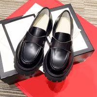 Kadın Elbise Ayakkabı Moda Basit Siyah Kaliteli İngiliz Tiki Retro Tıknaz Loafer'lar Deri Ayakkabı Düşük Üst Düz Alt Düğün Ziyafet Örgün Giyim Scarpe Sandalet
