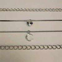 4 teile / satz Layer Mond Anhänger Halskette Neckketten Halbmond Gothic Schmuck Frauen Weibliche Chocker Goth Zubehör 1614 Q2