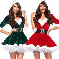 Moda Media manga Vestidos para mujer SANTA CLAUS TEMA DE XMAS COSPLAY COSPLAY CHEISTBELT Vestido de Navidad de fantasía