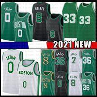 Jayson 0 Tatum Kemba 8 Walker 33 2021 جديد كرة السلة جيرسي للرجال شباب طفل جيلين 7 براون ماركوس 36 الذكية الأخضر أسود شبكة بيضاء الفانيلة
