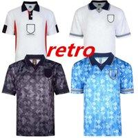 Pontuação Draw Preto Retro Classic 1980 1994 1990 1996 1984 1998 Futebol Jerseys Home Away Kits Beckham Gascoigne Owen Gerrard Futebol Camisa