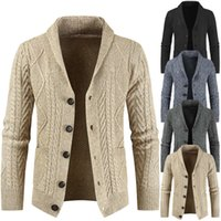 2019 winter new Crochet knitted cardigan fashion V-neck loose thickened coat men's sweater