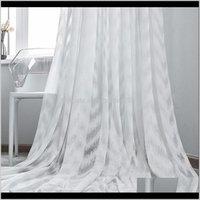 GXI Dalga Oturma Odası Yatak Odası Için Beyaz Tül Perde Sırf Perdeler Mutfak Lüks Çizgili Vual Valanslar Pencere Tedavileri M246-4 UPD Q5raw
