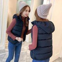 Женские жилеты 2021 осенью зима убраны хлопок жилет пальто девушки носить повседневную молнию с капюшоном, чтобы сохранить теплый и светлый черный