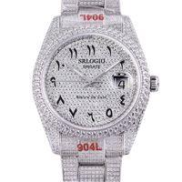 전체 다이아몬드 망 시계 40.6mm 자동 기계식 시계 다이아몬드 베젤 방수 사파이어 손목 시계 패션 패션 현대 손목 시계 몬트 레 드럭