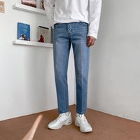 Men's Jeans 2021 Spring Summer Korean Blue Straight Loose Trend Ankle Length Pants Fashion Casual Vintage