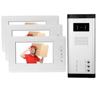 Brand 7'' Color Video Door Phone 3 Monitors With 1 Intercom Doorbell Can Control Houses For Multi Apartment Phones