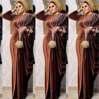 Abbigliamento etnico elegante velluto vestito musulmano donne pieghettata india africana india islamica maxi jubah lungo abito abaya marocchino kaftano kaftano