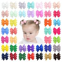 Baby Girls Cute Safety Solid Bowknot Barrettes Sweet Children Grosgrain Ribbon Bows Hairpin HairClip Kids Hair Accessories