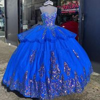 2021 vestidos de 15 años Ball Prom Gowns Spaghetti Staps Royal Blue Sequins Quinceanera Party Gown Sweet 16 Dress