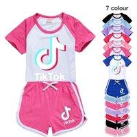 Tiktok Çocuk Giyim Kız Yaz Kıyafetler Set Çocuk Erkek Bebek Giysileri Eşofman Tık Tok Şort Boş Zaman Spor Takım Elbise Eşofman GG40Y46T