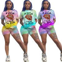 Donne Tracksuits Due pezzi Set Designer Shorts Outfitslip Tie Dye T Shirt Top Pants Plus Size Pantaloni Pants Set Sweat Sweatsuits Vestiti