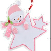 Blue acrylique Snowman Noël Carte de voeux de Noël de Noël Partie de Noël ornements d'ornements Star Shape Arbre de Noël Suspension Chrams Key Ring GWB10132