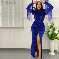 Sparkle Blue Mermaid Evening Dresses O Neck Long Sleeve Ankle Length Illusion Bodice Front Split Tassel Sequined Formal Women Prom Party Gowns Celebrity Dress Maxi