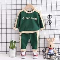 Erkek Bebek Giysileri Yeni Çocuk Uzun Kollu Takım Elbise Bebek Kız Yuvarlak Yaka 2 Parça Set Kıyafetler Çocuklar Kazak Spor Rahat Spor 210418