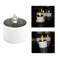 Solarlaterne Tee Lichter Kerzen - wiederaufladbare flackernde elektronische solare LED Lampe Nachtlicht Kunststoff Flammenlose Energie Kerze Crestech168